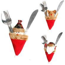 Фотография Christmas Tree Ornament Dinnerware Cover Candy bags Xmas Fork Tableware Bag Z1019