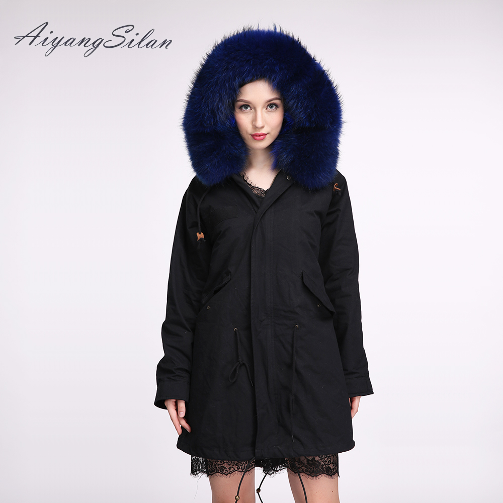 AiyangSilan Women Natural Raccoon Fur Collar Hood Jacket Fur Coat Warm Black Overcoat Real Fox Fur Liner Parka Femininos Jackets 2017 winter new clothes to overcome the coat of women in the long reed rabbit hair fur fur coat fox raccoon fur collar