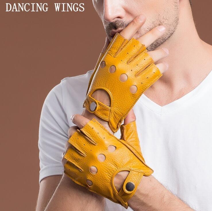 Genuine Leather Gloves Men's Short Paragraph Driving Bike Riding Sheepskin Gloves Touch Screen Men's Fingerless Gloves