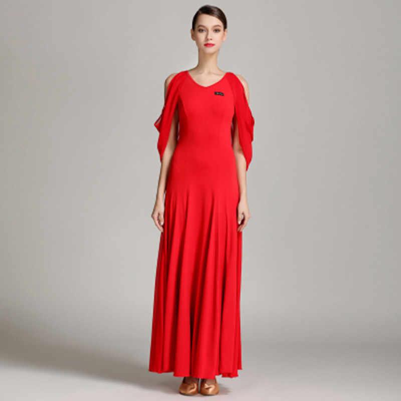 2018 Новинка; стильные модные женские бальные платье для танцев красный/черный выступление конкурс, женские платья Сакура, Вальс Танго юбка для танцев