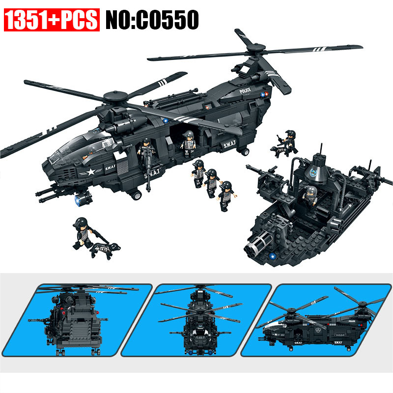 1351pcs C0550 SWAT series Helicopter Transport aircraft Building blocks set Boys DIY Bricks toys for Children Great gift sluban b0367 aviation series international airport building blocks transport aircraft vehicle bricks toys