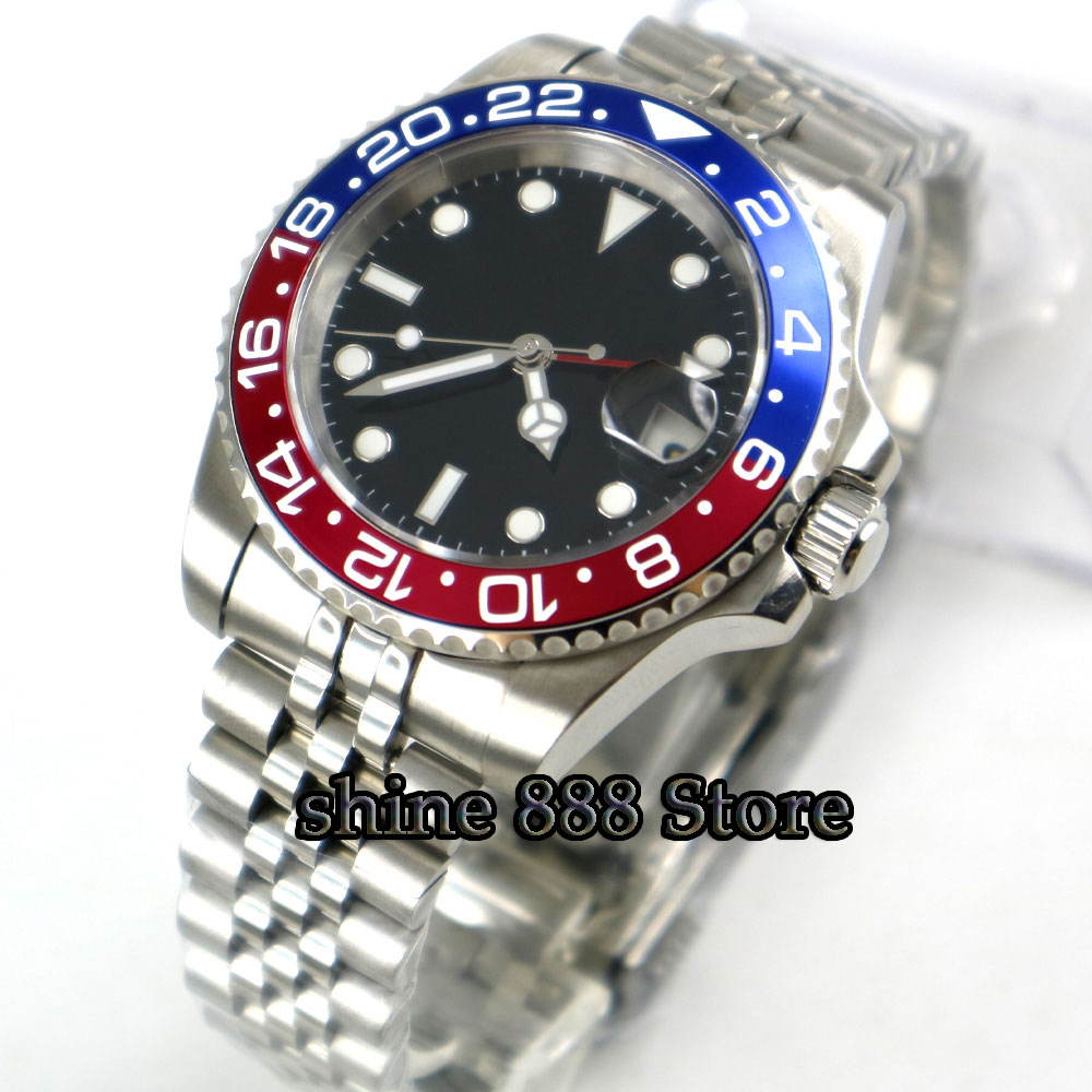 Parnis 40mm Mechanical Watches GMT Sapphire Crystal Man Watch 2018 Diver Watch Automatic relogio masculino Role
