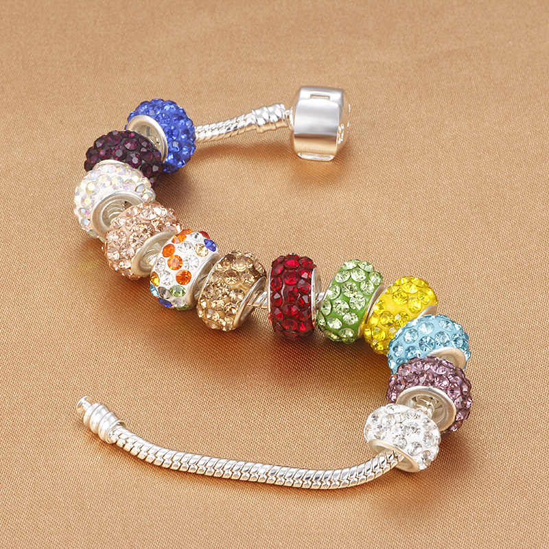 DEERIPA الأزياء 19 الألوان DIY الراتنج الراين الخرز يناسب باندورا سحر أساور القلائد الأوروبية الخرز صنع المجوهرات