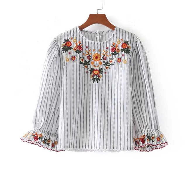 7de1d14b9ed YSMILE Y Women Flower Embroidery Black White Striped Shirts Blusas Casual  Style O neck Ladies Tops Blouse HY236