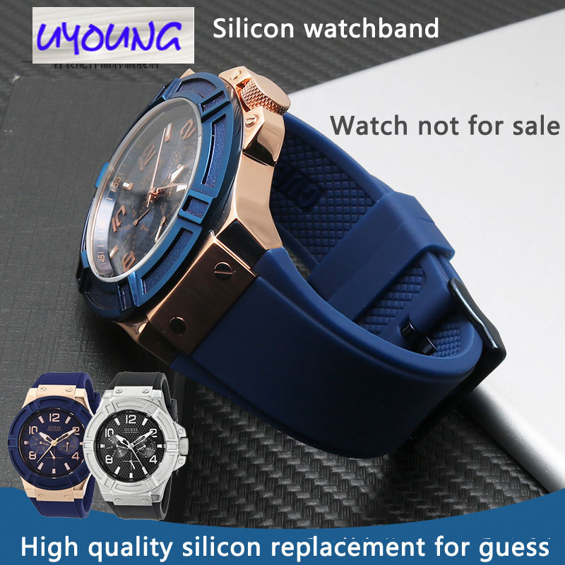22mm  Silicone Rubber Watch Band For Gaelic Guess Male W0247G3 W0040G3 W0040G7 Watch Band