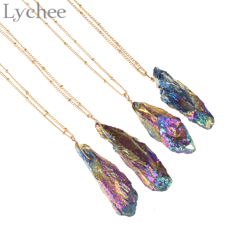 daily vogue Lychee  Irregular Natural Stone Pendant Necklace Gold Color Multicolor Stone Necklace Jewelry for Men Women Random Color