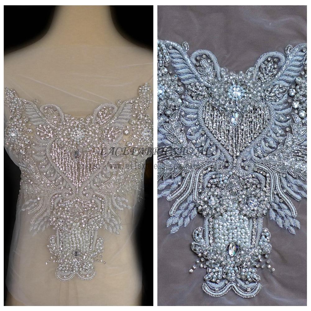 Restock Silver Super High grade imitation large Rhinestone patches handmade embroidery wedding dress accessories 1 piece