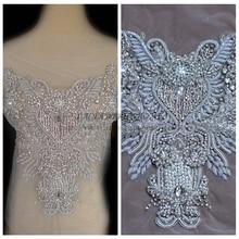 Silver Super High-grade imitation large Rhinestone patches handmade embroidery wedding dress accessories 1 piece 35X35cm