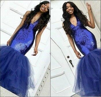 38b91e5e34 Elegante negro africano chicas azul marino lentejuelas sirena vestidos 2019  V sin mangas cuello de las