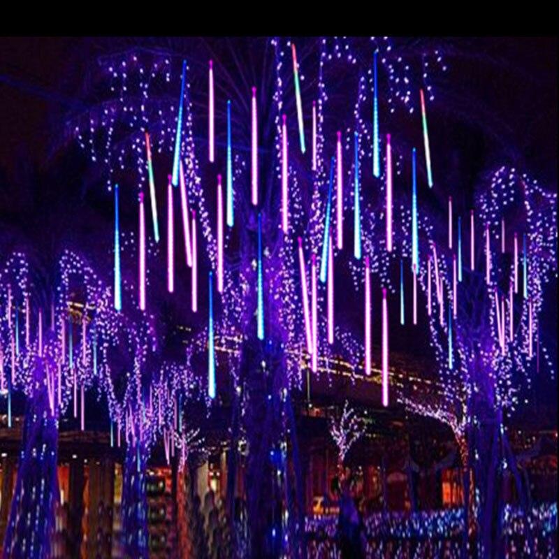 Метеоритный дождь Дождь трубы 30 см 50 см 8 Tube/набор Фея светодиодный рождественское свадебное украшение сада свет шнура 220 В ЕС Plug