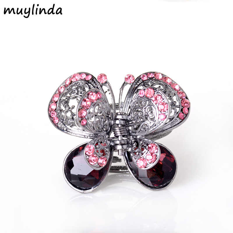 ... Vintage Rhinestone Butterfly Hair Claw Crab Crystal Embellished Medium Hair  Clip Open Sides Hair Accessories For ... 869d0d1d92f6