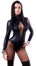 Women's Sexy Black Vinyl Leather Lingerie Bodysuits Erotic Costumes Rubber Flexible Hot Faux Latex Catsuit Costume