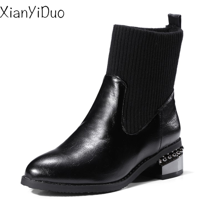 Xianyiduo Women's Shoes Ankle-Boots Med-Heels Round-Toe Black Big-Size Spring/autumn