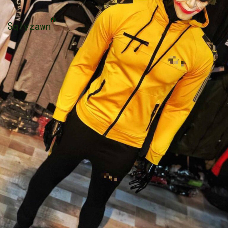 Brand Zipper Up Tracksuit Men Set Sportswear Jogger 2 Pieces Sweatsuit Men Clothes Hooded Hoodies Jacket Pants Racing Suits Male
