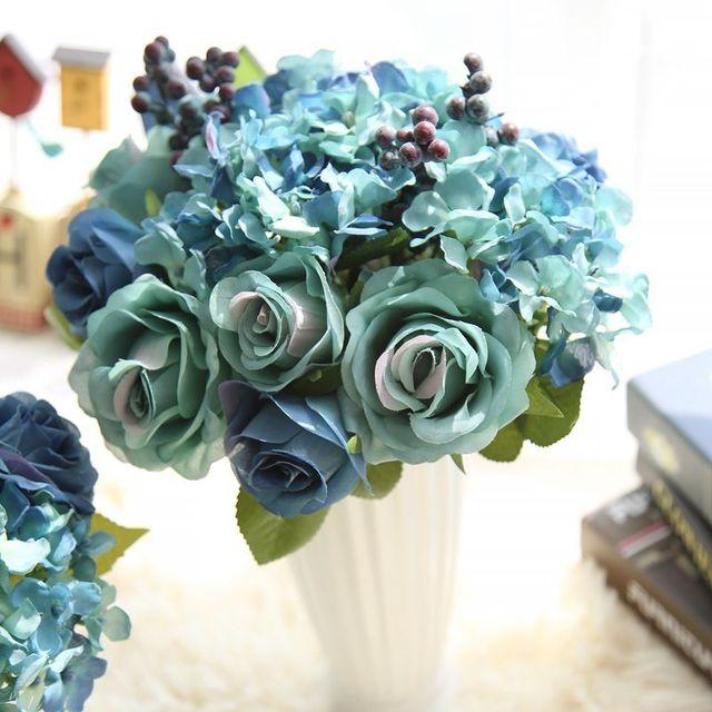 Kunstliche Blume Silk Rose Braut Hochzeit Bouquets Blau Blumen