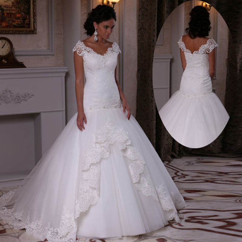 Popular lace drop waist wedding dress buy cheap lace drop for Wedding dresses with ruching and dropped waist
