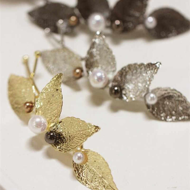 1 piece fashion retro leaves pearl hairpin headdress        CJWD86
