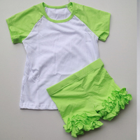 lime green blank raglan shirts for baby girl ruffled shorties outfit kid boutique outfit ruffles set child bulk short shorties
