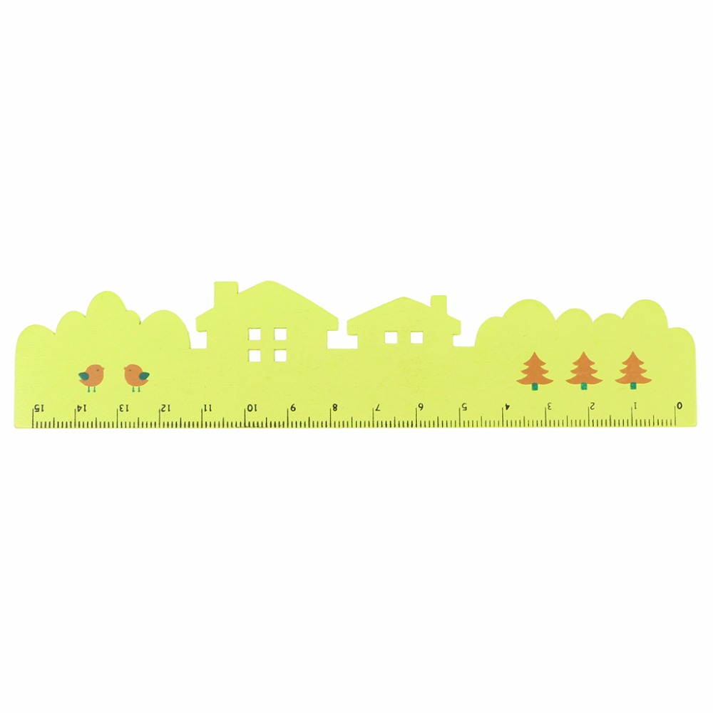 Creative Wooden Bookmark Measuring Straight Ruler House Design School Stationery