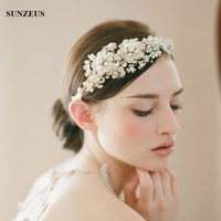 Luxury Hand made Bridal Headband Pearls Crystal Headpieces High Quality Crown For Brides Gold Wedding Accessory SQ0184