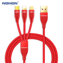NOHON 3 IN 1 USB Cable Gold-Plated USB Charger Cable For iPhone 8 7 6 6S Plus iOS 10 9 8 Type C Micro USB-C Android Phone Cables(China)