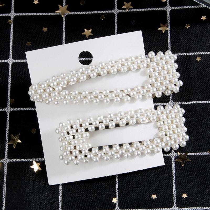 2pcs set Fashion Women Imitation Pearl Hair Clip Snap Barrette Stick Hairpin Hair Accessories Elegant Headdress in Women 39 s Hair Accessories from Apparel Accessories