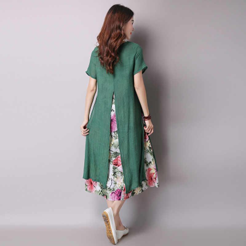 Saiqigui 2019 летнее женское платье в китайском стиле повседневное свободное Хлопковое платье с принтом и круглым вырезом vestidos de festa