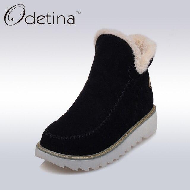 Odetina 2018 Warm Pluche Platform Enkel Snowboots Platte Vrouwen Winter Schoenen antislip Grote Maat Zwart Suede Dames Slip Op laarzen