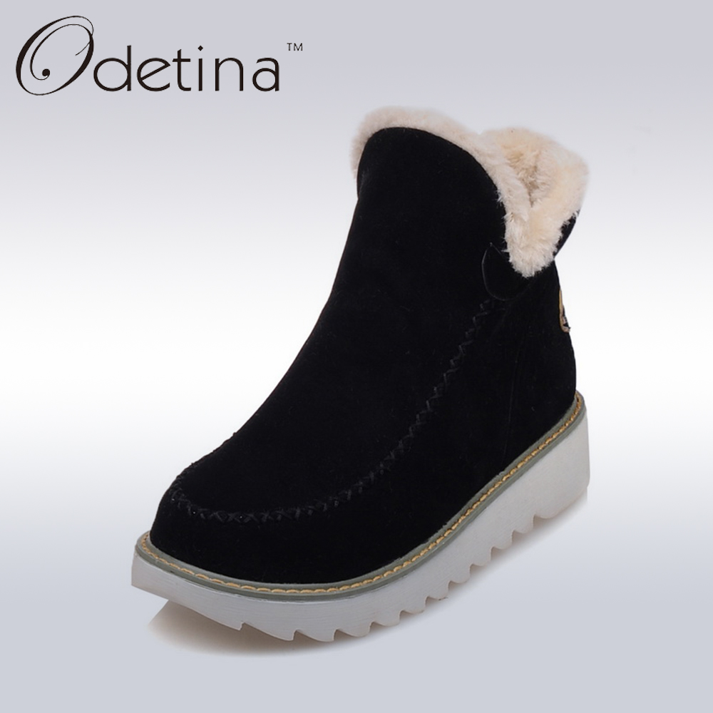 Odetina 2018 Warm Plush Platform Ankle Snow Boots Flat Women Winter Shoes Non-slip Large Size Black Suede Ladies Slip On Boots цена