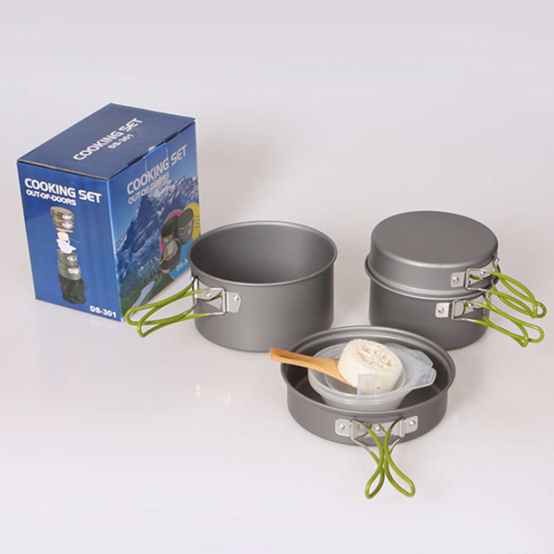 DS 301 Outdoor Camping Hiking Picnic Cookware Cooking Pan Pot Bowl Set for 2 3 Person cozinha Camping Trip Dishes