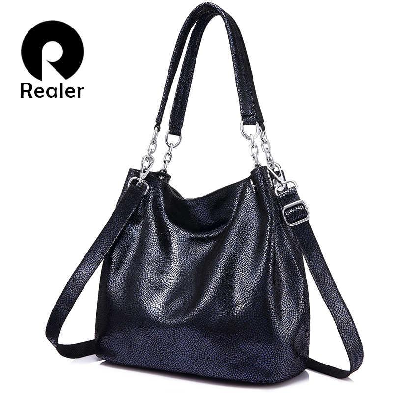 2ab2778d42b3 REALER большая сумка женская натуральная кожа, сумки женские через плечо на  молнии, сумки женские