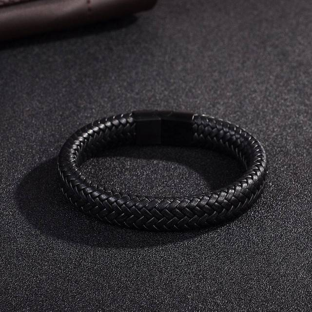 Jiayiqi Men's Braided Leather Bracelet /w Stainless Steel Magnetic Clasp