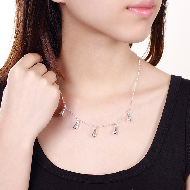 925 Silver Chain Water Drop Necklace Women Silver Necklaces