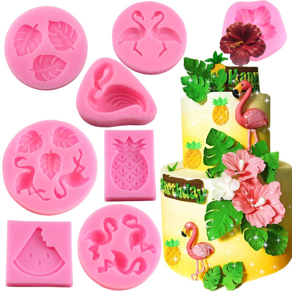 Tropical Theme Fondant Mold Flamingo Flower Turtle Leaf Candy Chocolate Silicone Molds DIY Summer Party Cake Decorating Tools