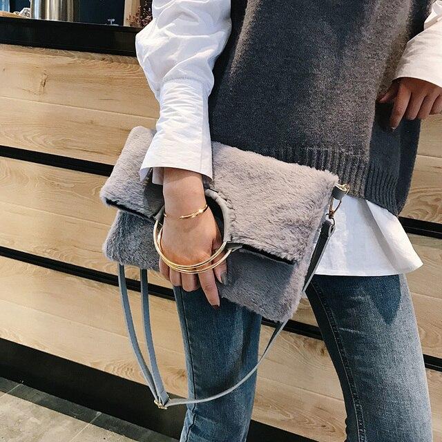249b8735fc 2 pcs set Handbag faux fur Women Evening Clutch Bags Designers Messenger  Bags Female Winter Clutches With Round Rings Handle