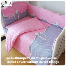 Discount! 6/7pcs Baby Bedding Set Baby Cot Beds Newborn Bed Linen 100% Cotton Boys/Girls ,120*60/120*70cm