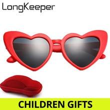 fee80afc1 2019 الحب القلب مكبرة الأطفال نظارات الاطفال الاستقطاب الطفل لطيف نظارات  شمسية الأحمر الوردي الأسود عدسة