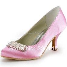 Mode Frauen Schuhe EP2024 Rosa Spitz Perlen Strass Spool Heel Pumps Satin Party Kleid Schuhe