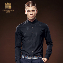 FANZHUAN Featured Brands Men's Shirt Long Sleeve Black High Quality Casual Slim Fit Asian Size M-5XL Free Shipping Made In China