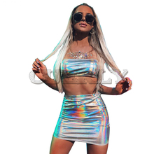 Cuerly Holographic silver strapless mini dress 2 piece Set Women Hologram bodycon Metallic Club Party Two Piece Dresses