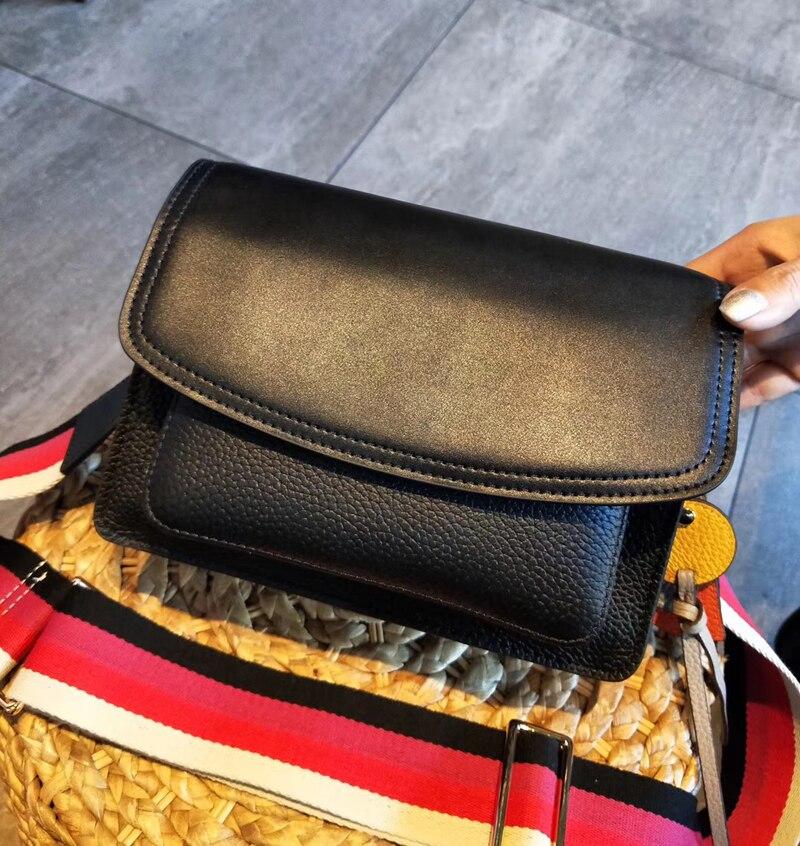 Новая высококачественная сумка через плечо из натуральной кожи, женская сумка, маленькая черная женская сумка мессенджер - 4