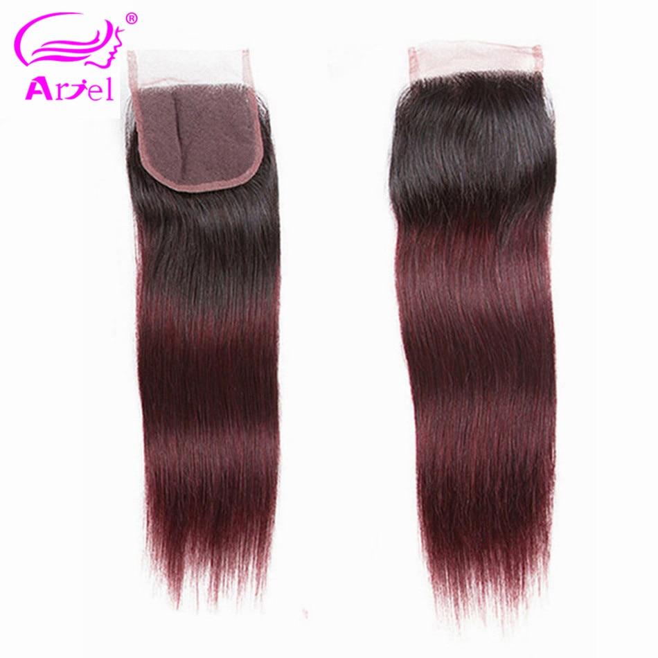 ARIEL Lace Closure Human-Hair Burgundy Ombre Brazilian Free-Part Colored Remy 1b/99j