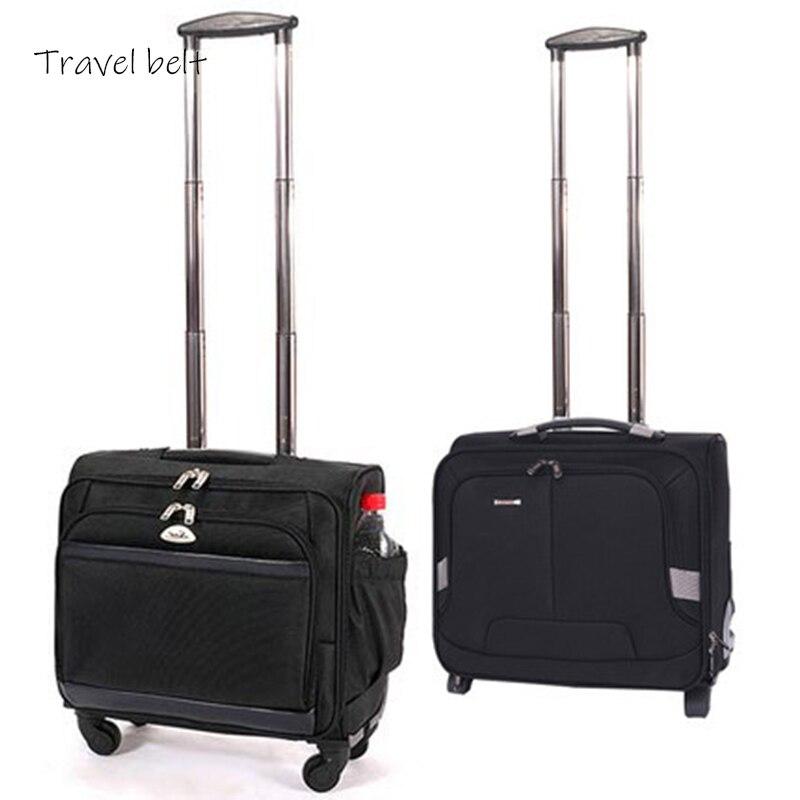 Пояс для путешествий удобный Оксфорд Скалка багаж Спиннер 18 дюймов Мужская посадка в бизнес класс чемодан колеса носить на дорожные сумки