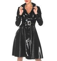 Латексная длинная одежда дождевик латексная резиновая длинная куртка с поясом