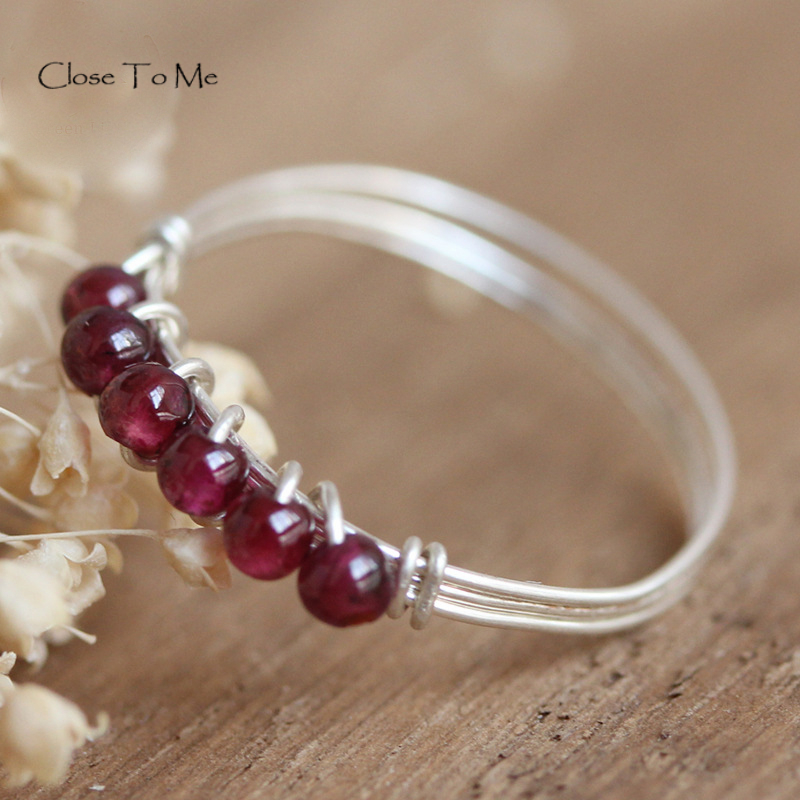 Close To Me S925 Sterling Silver Natural Garnet Stone Handmade Fine Jewelry Ring Cute Slim Rings For Women'Gift ALR008