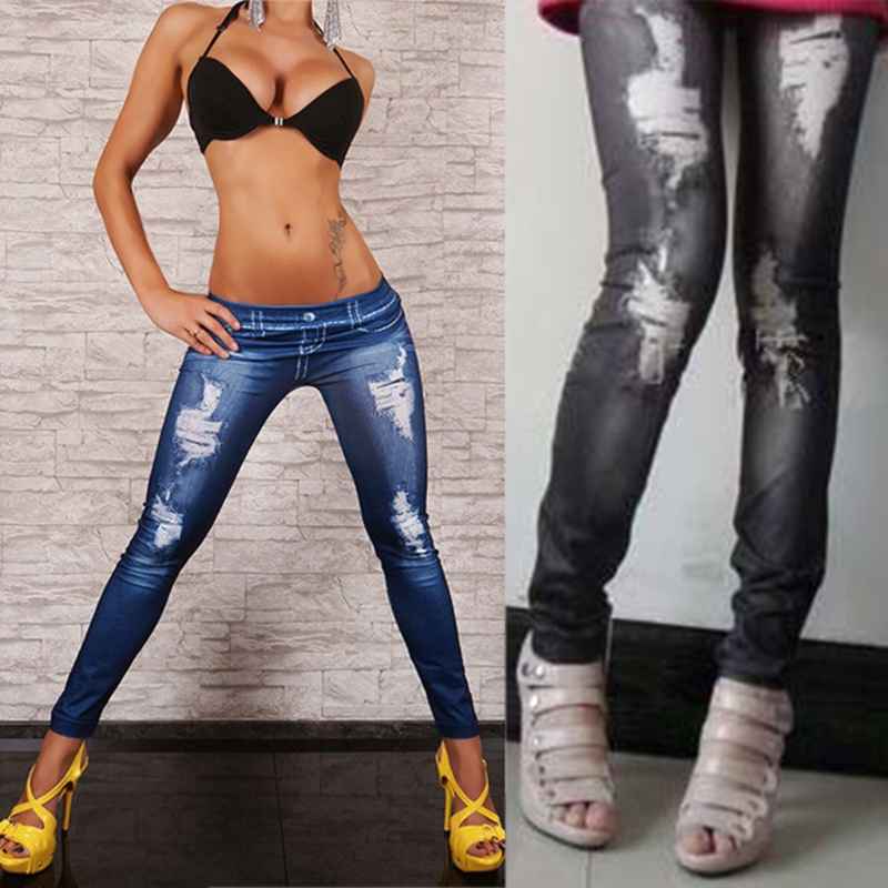Women Blue Black High Waist Faux Denim Stretch Pencil Pants   Jeans   Leggings