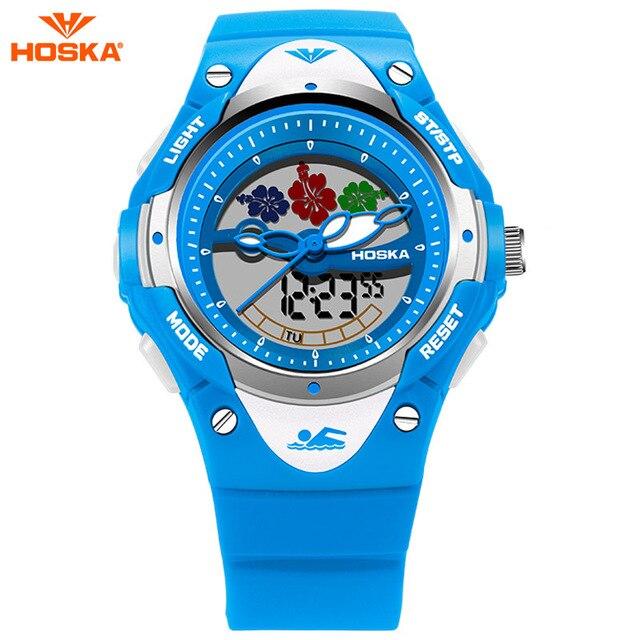 Original HOSKA Brand Analog Digital Sport Watches Children Boy Waterproof Black Rubber Band Wristwatch For Girl Gift HD023S