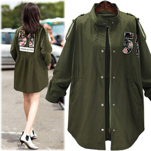 2016 Women Jacket Coat Fashion Design Bomber Jacket Embroidery Letter Oversize Women Coat Army Green Cotton Coat Black