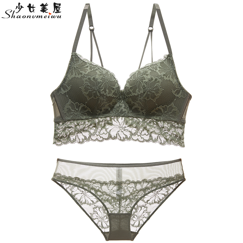 Shaonvmeiwu European And American Gathered Ladies Lace Sexy Underwear Set Deep V Temptation Bra Cover Green Summer Bra