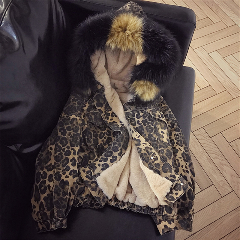 Lambswool Denim Jacket Women Winter Fashion Leopard Warm Fleece Warm Parka Thick Big Fur Hooded Jeans Jacket Big Size Denim Coat